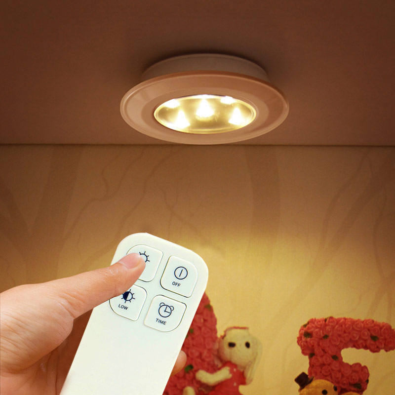 Wireless Romote Control LED Under Cabinet Lights Stick-to-Anywhere Tap Light for Cabinet Bedroom Hallway --M25