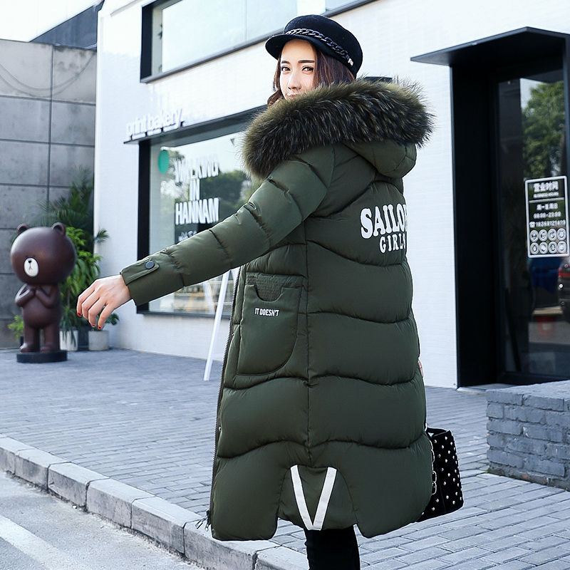 2017 Winter Jacket Women Elegant Lady Soft Large Fur Collar Hooded Cotton-Padded Parkas Thick Warm Slim Long Coat down cotton winter hooded jacket coat women clothing casual slim thick lady parkas cotton jacket large size warm jacket student