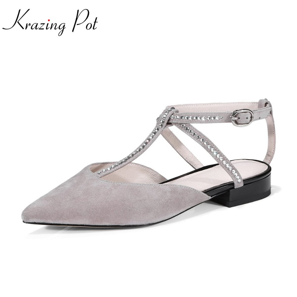 Krazing Pot new kid suede crystal buckle strap women fashion shoes pointed toe T-strap casual simple style women cozy flats L86 fashion pointed toe women shoes solid patent pu brand shoes women flats summer style ballet princess shoes for casual crystal