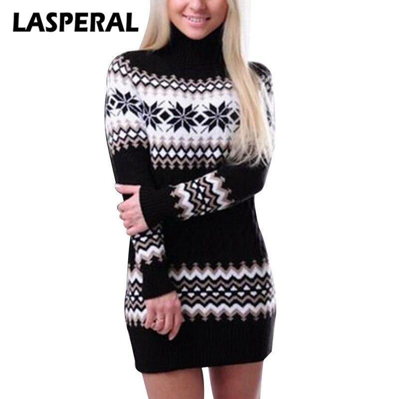 LASPERAL Winter Warm Turtleneck Sweaters Knitted Pullovers Female Long Bodycon Christmas Sweaters Geometry Pattern Knitwear Z30