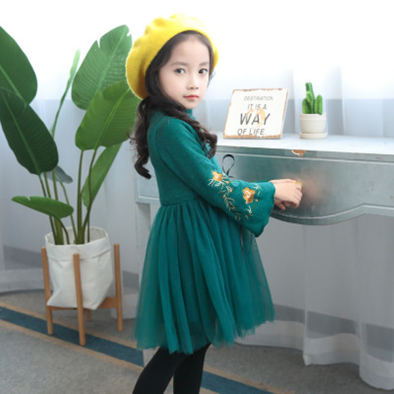 Children   Evening     Dresses   Kids Clothes Autumn Winter Girls   Dress   spring Baby Girl Embroidered Long Sleeve Princess   Dress