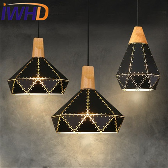 IWHD Loft Style Iron Wood Droplight Modern Industrial Wind LED Pendant Light Fixtures Dining Room Hanging Lamp Home Lighting iwhd loft style creative 3 head iron glass droplight modern led pendant lamp fixtures dining room hanging light home lighting