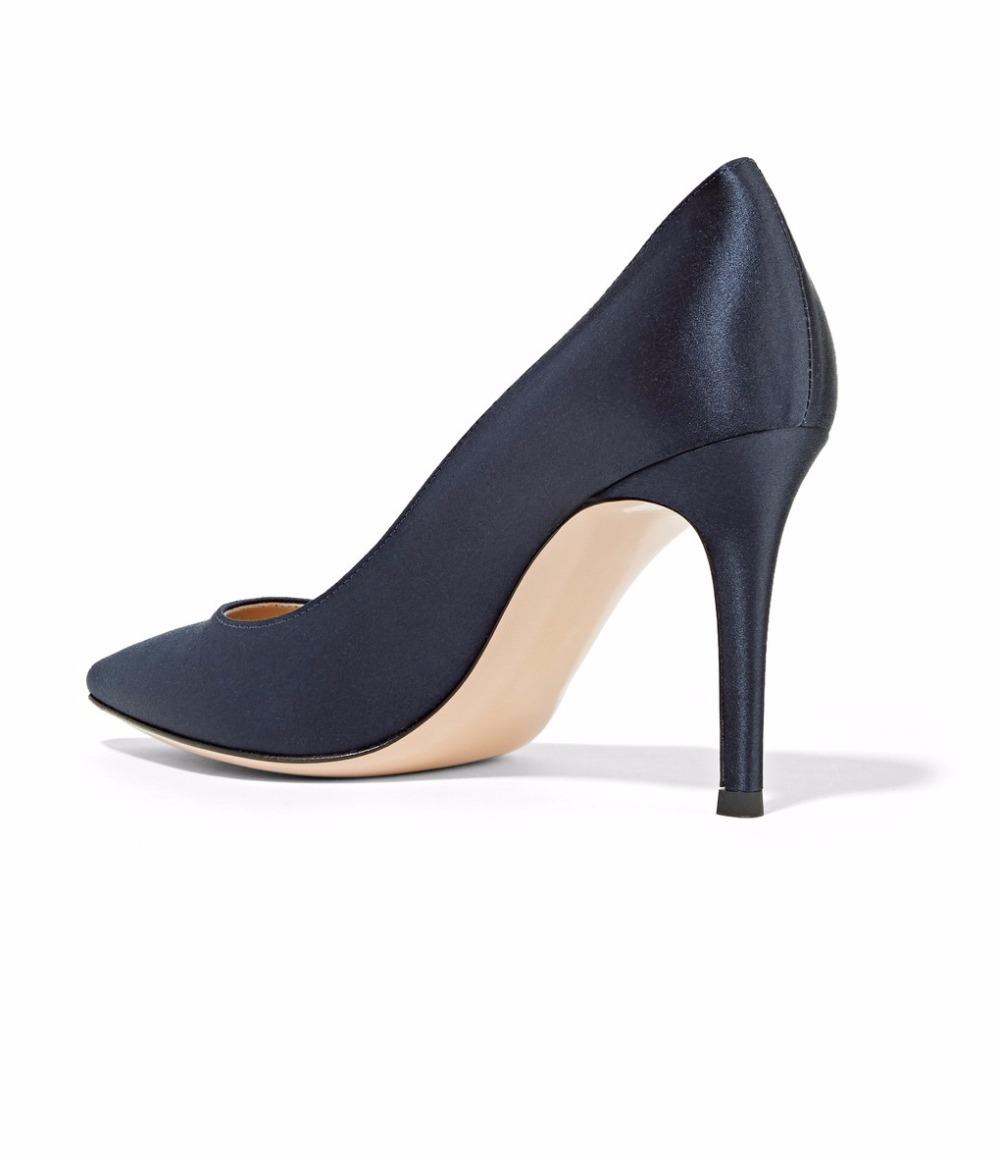 a815f73ea1d Amourplato Women s 8cm Pointy Toe High Heels Satin Pumps Stiletto Heel  Closed Toe Elegant Party Wedding Prom Slip on Dress Shoes-in Women s Pumps  from Shoes ...
