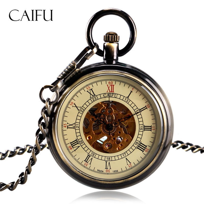 CAIFU Retro Bronze Open Face Pocket Watch Steampunk Women Men Dress Elegant Clock Chain Automatic Mechanical Gift for Christmas retro steampunk bronze pocket watch eagle wings hollow quartz fob watch necklace pendant chain antique clock men women gift