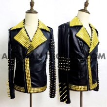 male black PU leather rivet jacket outfit prom show blazer costume Rock coat bar DJ stage outfit fashion singer dancer star