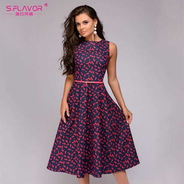 6ef76dfc688b S.FLAVOR Simple vintage A-line dress 2019 new fashion O-neck sleeveless