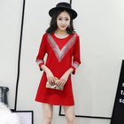 plus size Women's clothing solid color Roman cotton V hot drilling bright diamond beaded seven-point sleeve bottoming dress