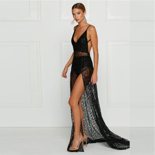 YSMARKET Sexy Hollow Out Black Lace Dress Slit Women Floor Length ...