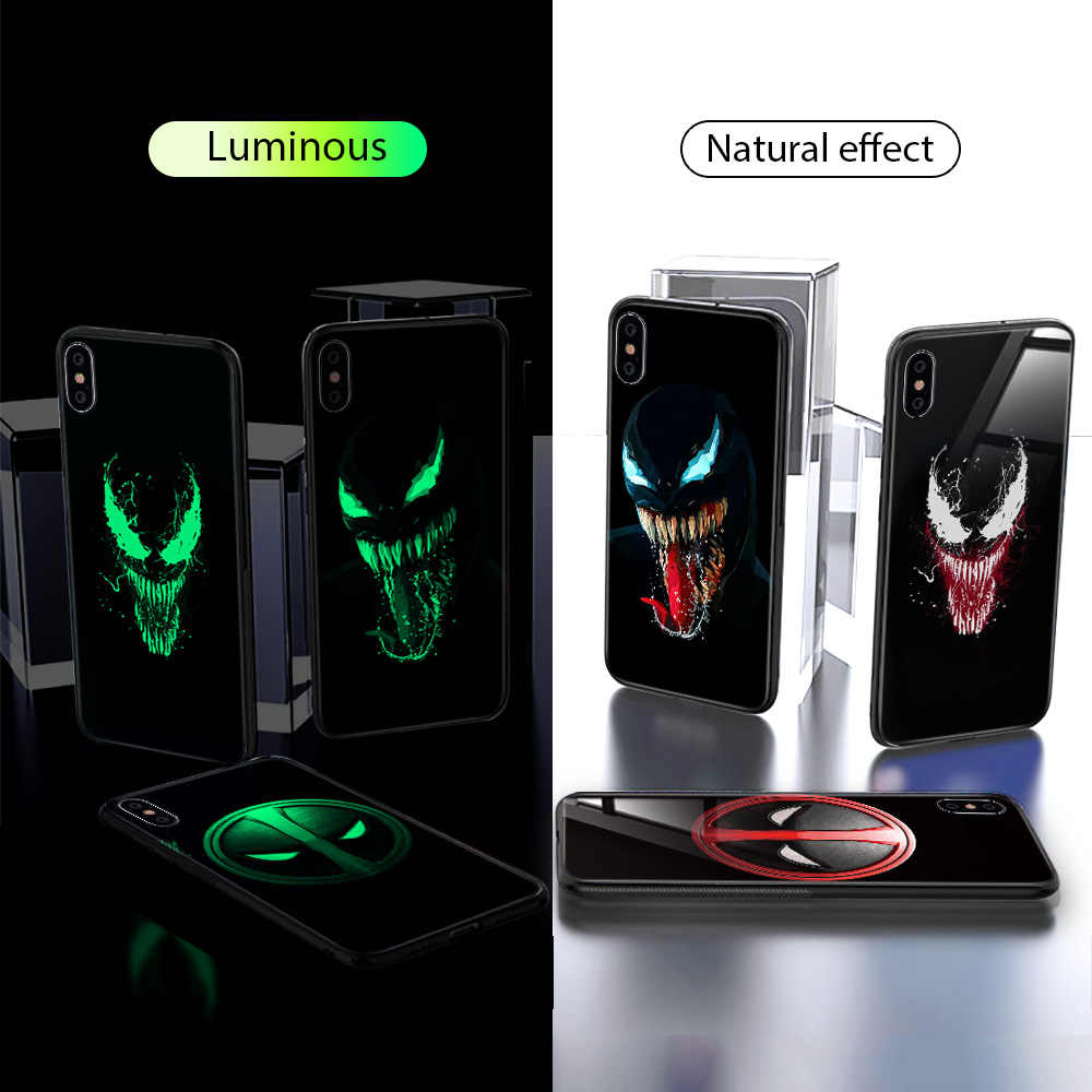 hot sales b7593 743ab Marvel Venom Glass Case For iPhone 7 8 Plus Case For iPhone X XS MAX XS  Luxury Silicone Phone Cases For iPhone 6 S 6S Plus