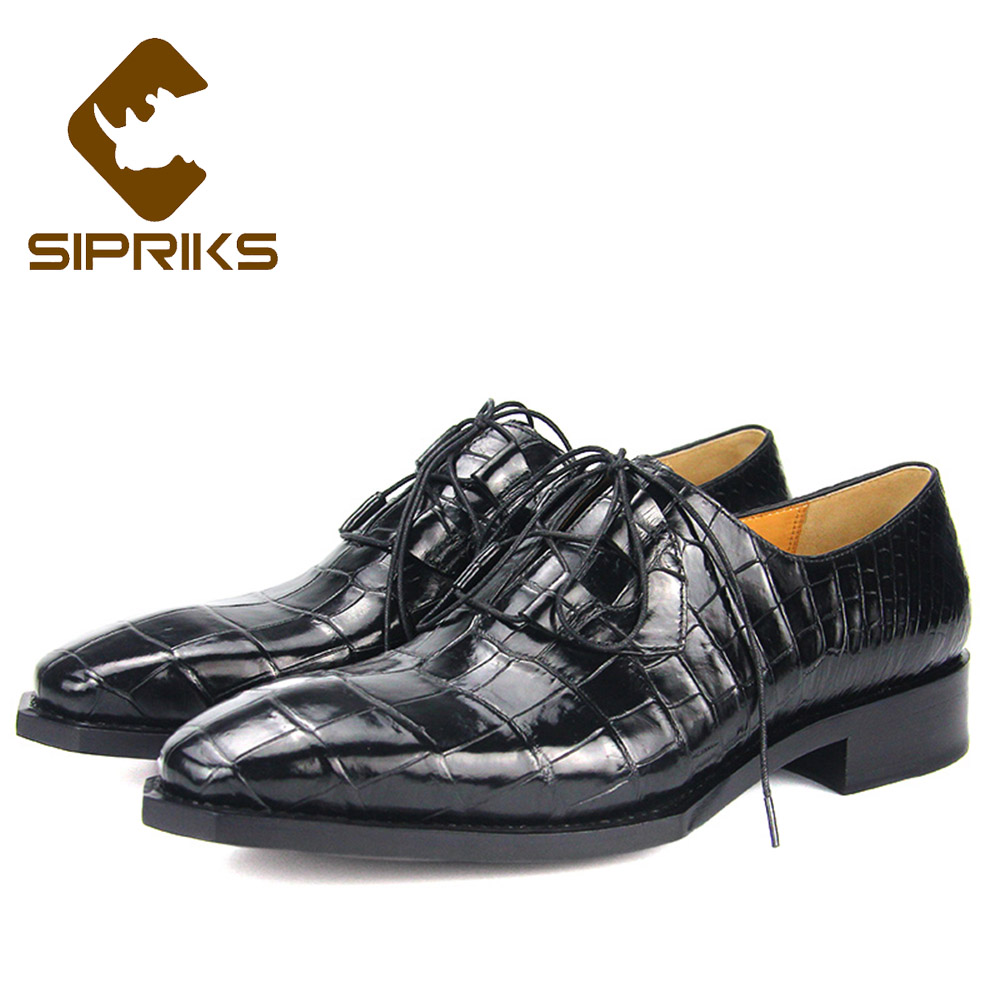 Sporting Sipriks Luxury Mens Goodyear Shoes Retro Crocodile Skin Mens Dress Oxfords Italian Custom Formal Shoes Gents Suits Male Social Formal Shoes