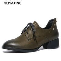 NEMAONE Pumps 2018 High Heels Shoes Woman Genuine Leather Big Size 34 42 Round Toe Balck