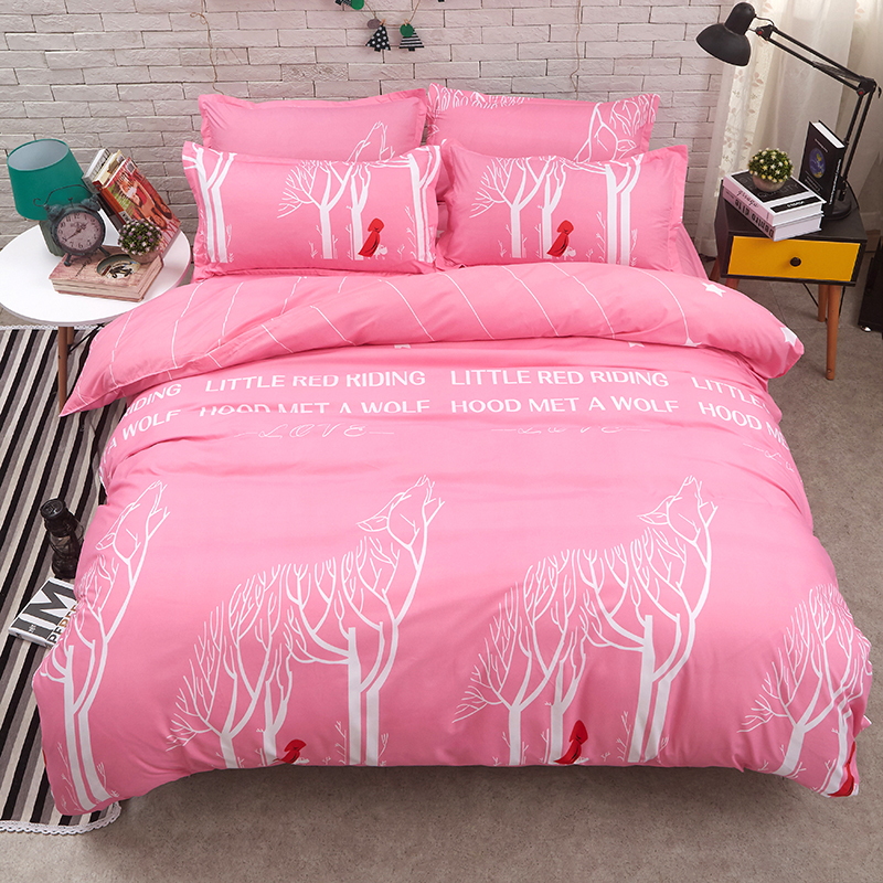 Couple style Pink romance Bedding Sets Soft Duvet Cover + Bed Flat Sheet + Pillow Case AB Design Reactive Printing