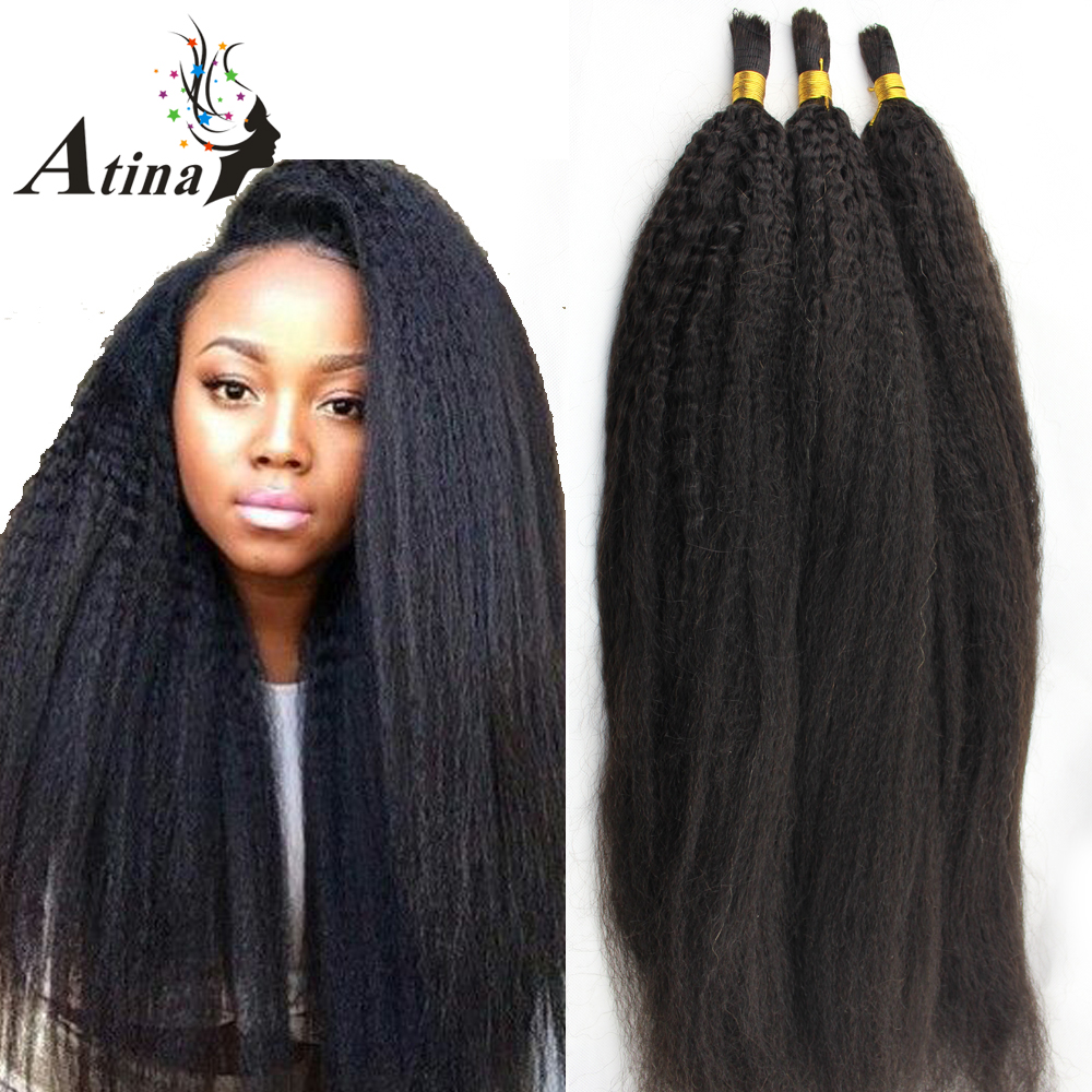 Atina Kinky Straight Human Hair Bulk Braiding No Weft Afro Kinky Straight 100% Human Hair 3 Bundles A Lot Bulk Hair For Braiding