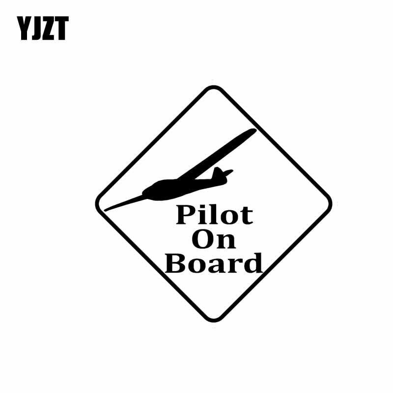 YJZT 13,5 см * 13,5 см маленький самолет пилот на борту знак безопасности автомобиля виниловая наклейка Стикеры черный/серебристый c10-00587
