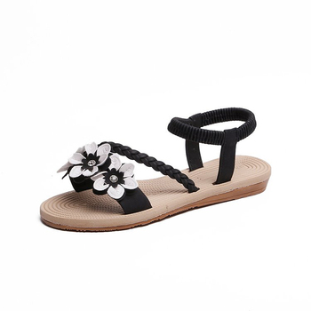 Summer Shoes Woman Sandals Elastic ankle strap Flat Sandalias Mujer 2019 Flowers Gladiator Beach Sandals Ladies Flip Flops 4