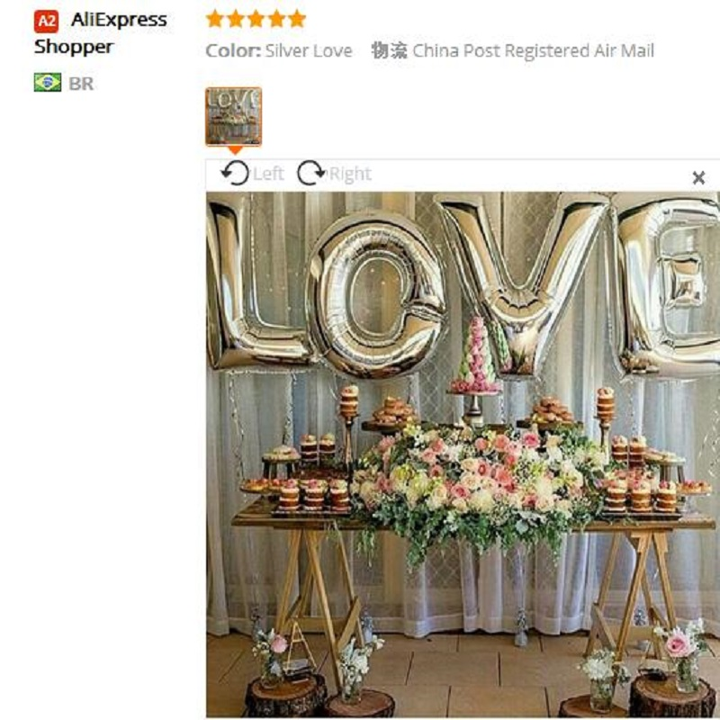 4pcs Set 40 Inch Silver Letter Love Foil Balloons Happy Wedding
