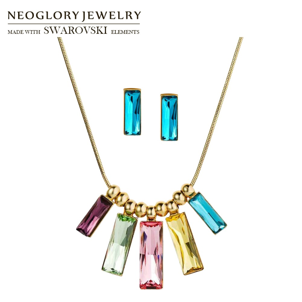 Neoglory MADE WITH SWAROVSKI ELEMENTS Crystal Jewelry Set Colorful Rectangle Design Necklace & Earrings Party Classic Lady rectangle design drop earrings