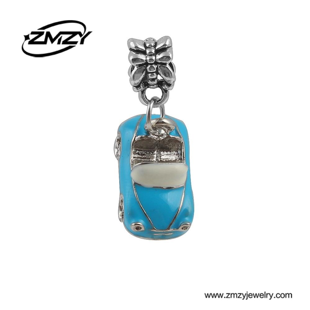 Latest Design Enamel Blue Car Charm Pendants Beads Diy Metal Beads Fits Pandora Charm Bracelet for Men as Gift ...