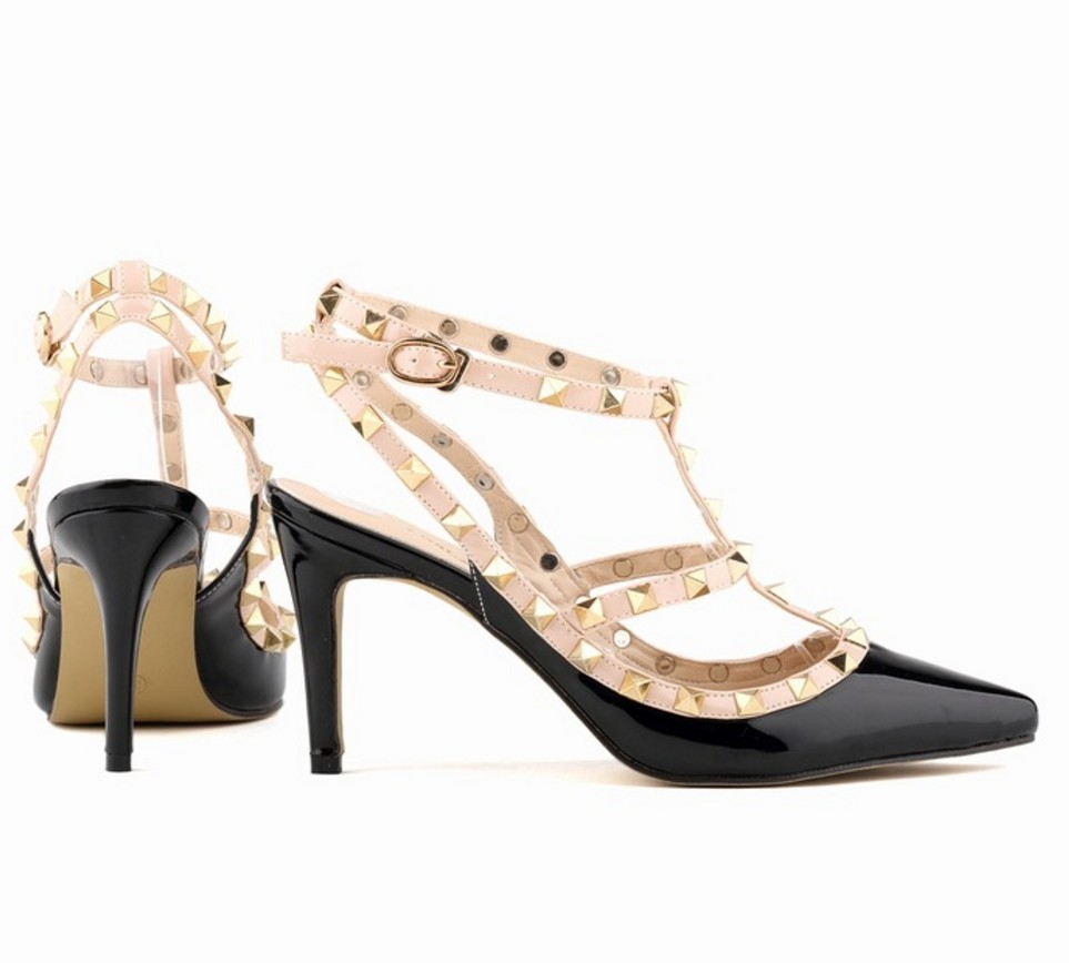 ФОТО buckle sandals women shoes brand designer shoes rivets pumps high heels ladies shoes sexy party valentine shoes zapatos mujer