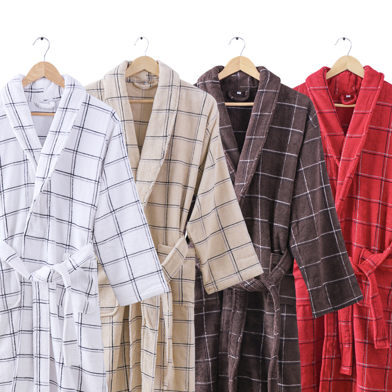 Cotton Bathrobe Men Male Winter Warm Thick Long Sleeve Plus Size XXL Towel Bath Robe Home Men Kimono Bathrobe Dressing Gown