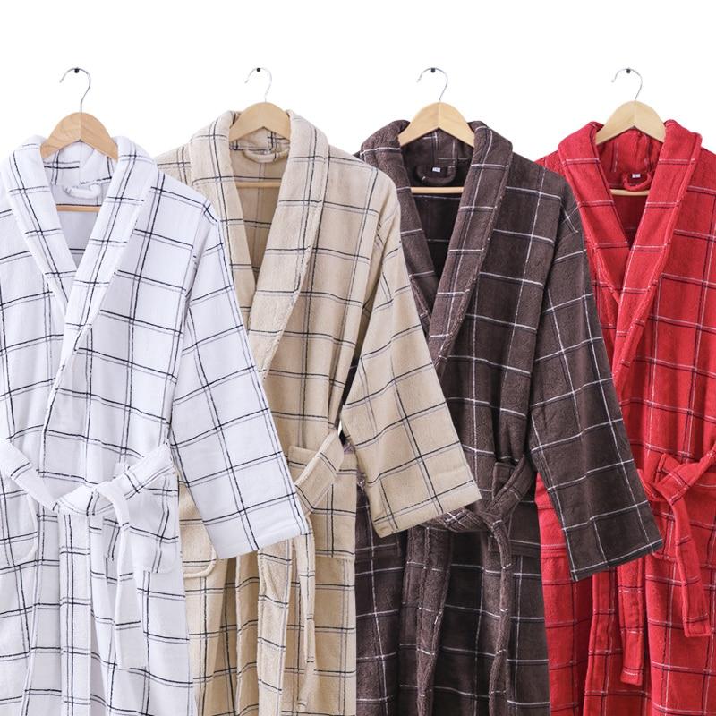 Cotton Bathrobe Men Male Winter Warm Thick Long Sleeve Plus Size XXL Towel Bath Robe Home Men Kimono Bathrobe Dressing Gown