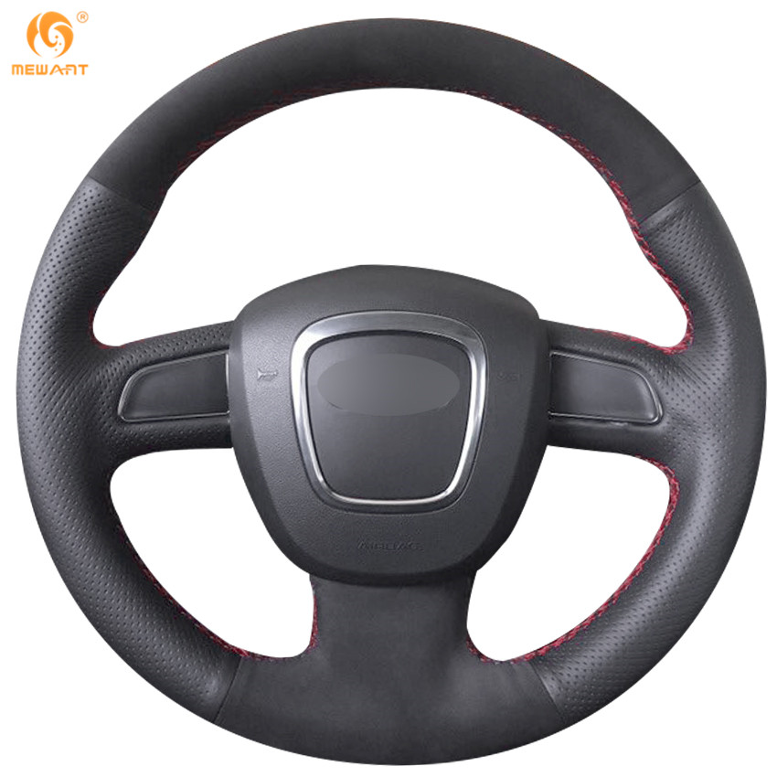 MEWANT Black Genuine Leather Steering Wheel Cover for Audi A3 (8P) 2008-2013 A4 (B8) 2008-2010 A5 2008-2010 A6 (C6) 2007-2011 cafoucs car door wing rearview mirror led turn signal light side indicator lamp for audi a4 b8 a6 c6 a3 a5 a8 q3 2008 2011