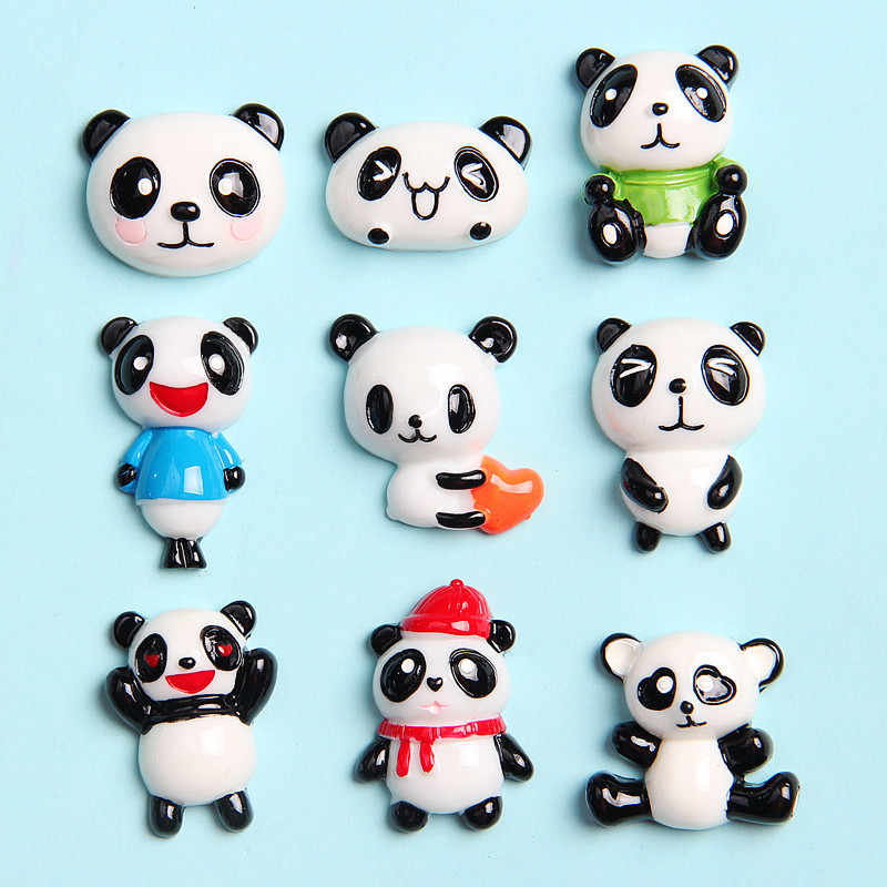 6PCS/Lot Slime Charms Cartoon Panda Resin Slime Filler for Kids Lizun Plasticine DIY Slime Accessories Supplies Kids Gift Toys E