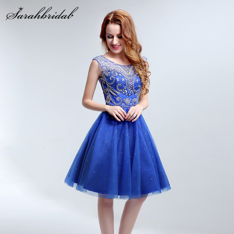 Youthful Charming Tulle   Prom     Dresses   Beading O-Neck Knee-Length Sleeveless Evening Party Gowns Backless Royal Blue Sequins LX189