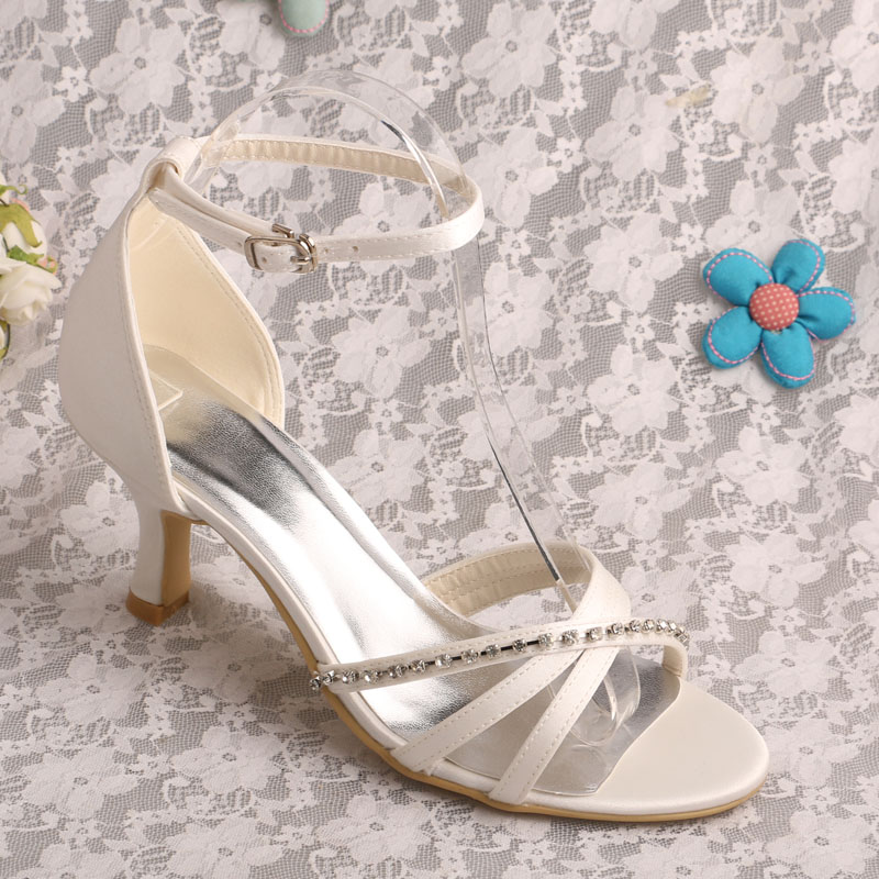 ФОТО Custom Handmade OFF White Satin Party Wedding Sandals Ankle-wrap Style High Heels with Crystals