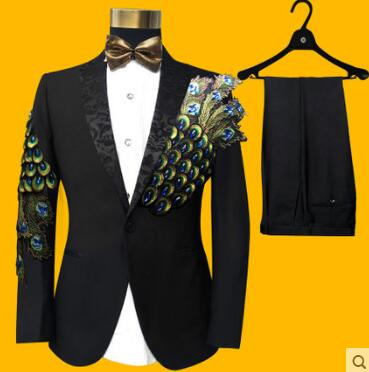 US $86 49 7% OFF|2017 Popular Men Suits Sequins Peacock Pattern Fashion  Slim Black Embroidered Male Singer Show Tuxedos Party Prom Men Suits  Sets-in
