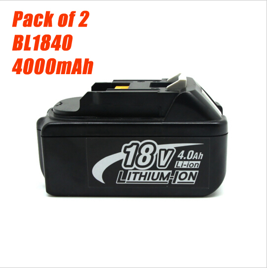Pack of 2 New Rechargeable 4000mAh Batteries for Makita BL1830 BL1840 LXT Lithium Ion 4 0Ah