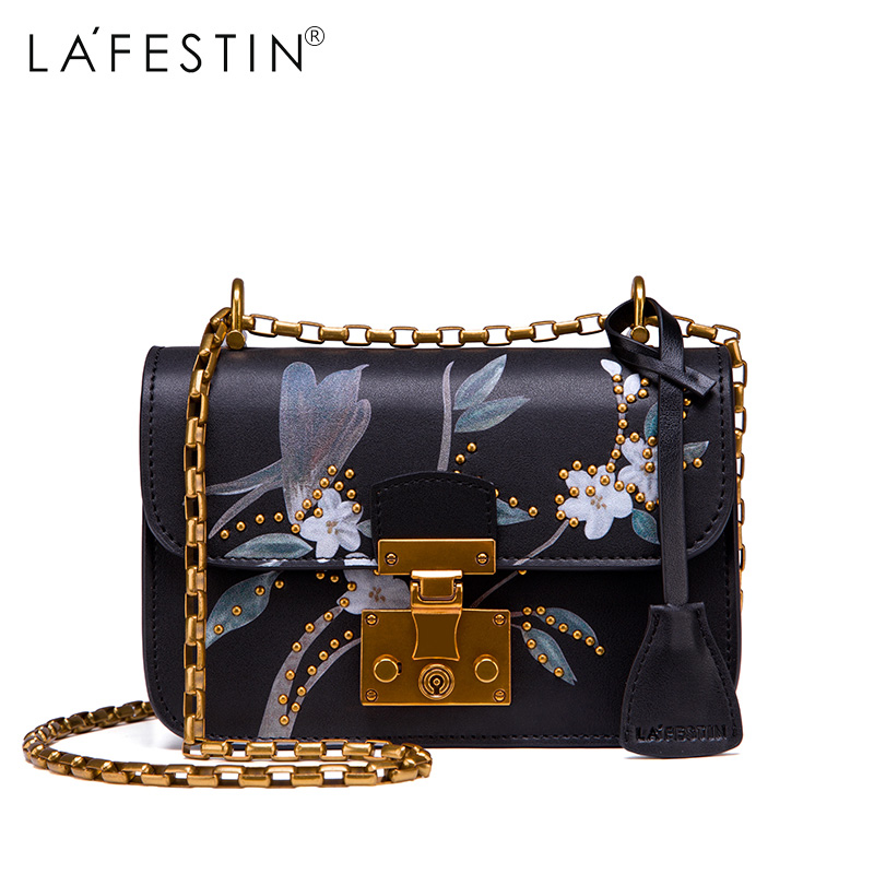 LAFESTIN Women Shoulder Genuine Leather Bag Designer Print Flower Rivet Crossbody Brands Women Luxy Bag bolsa Female Luxy