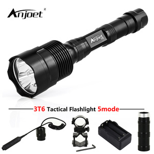 ANJOET LED Hunting Flashlight 6000 Lumens 3 x XML T6 5Mode 3T6 Torch Light suit Gun Mount + Remote Pressure Switch + Charger