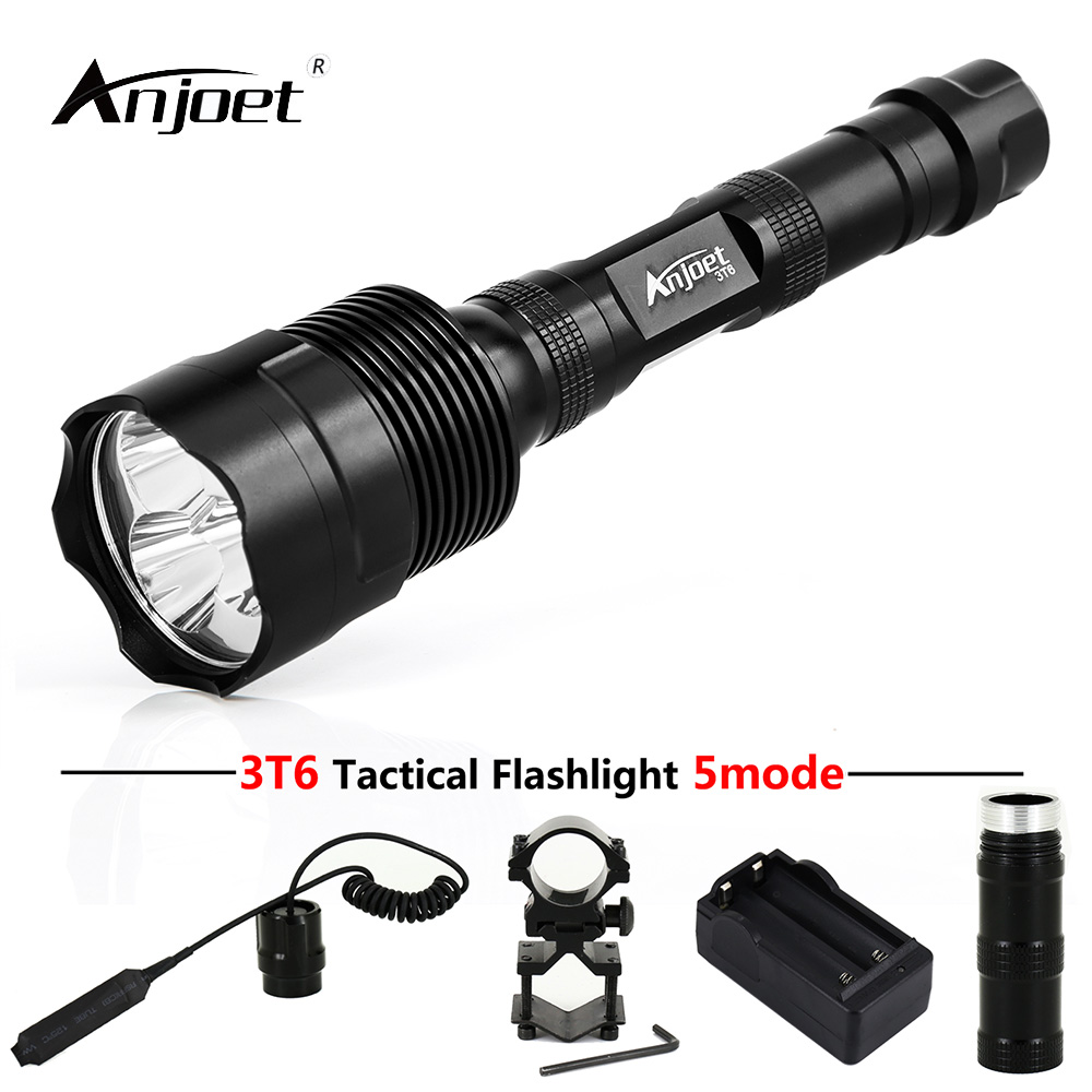 ANJOET LED Hunting Flashlight 6000 Lumens 3 x XML T6 5Mode 3T6 Torch Light suit Gun Mount + Remote Pressure Switch + Charger 2500lm xml t6 led tactical flashlight torch light 2x4000mah battery dual charger pressure switch