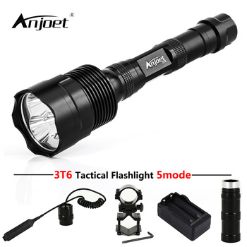 ANJOET LED Hunting Flashlight 6000 Lumens 3 x XML T6 5Mode 3T6 Torch Light suit Gun Mount + Remote Pressure Switch + Charger sitemap 33 xml