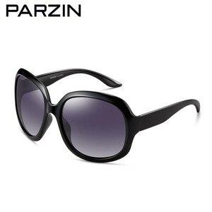 Image 4 - Parzin polarizado óculos de sol feminino retro óculos de sol marca design óculos grandes tons gafas de sol com caso 6216