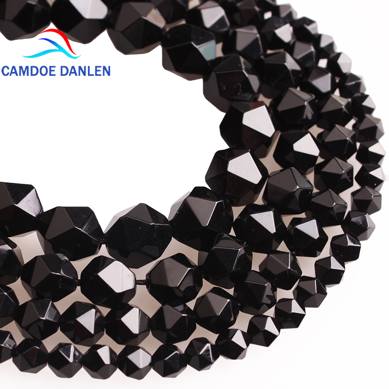 CAMDOE DANLEN Natural Carnelia Stone Faceted Black Agates Onyx Loose Beads 6 8 10 12 MM Fit Diy Beads Handmade Jewelry Making faceted nugget loose beads sakura agates loose beads full strands cherry agates stone petite nuggets beads in 12 30 mm be7578