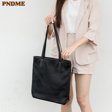 PNDME fashion vintage soft genuine leather ladies tote bag simple daily high quality cowhide shopping black womens handbag
