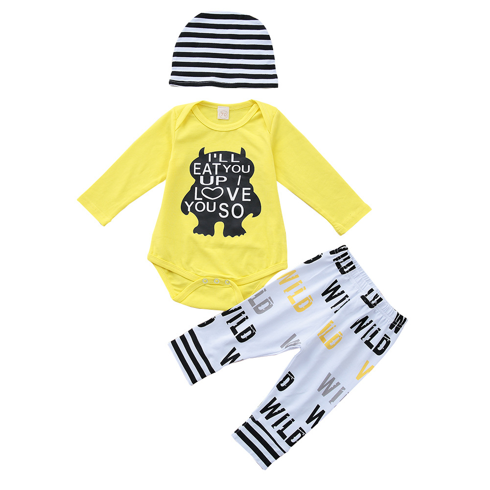 Autumn Baby Clothing Sets Newborn Toddler Infant Baby Boy Girl Outfit Long Sleeve Bodysuits + Pants +Hat Casual Clothes 3PCS Set