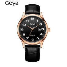 100% Genuine Leather Mens Watches Top Brand Luxury Geya Quartz Waterproof Analog Watch Casual Cool Watch Sports Wristwatch7012