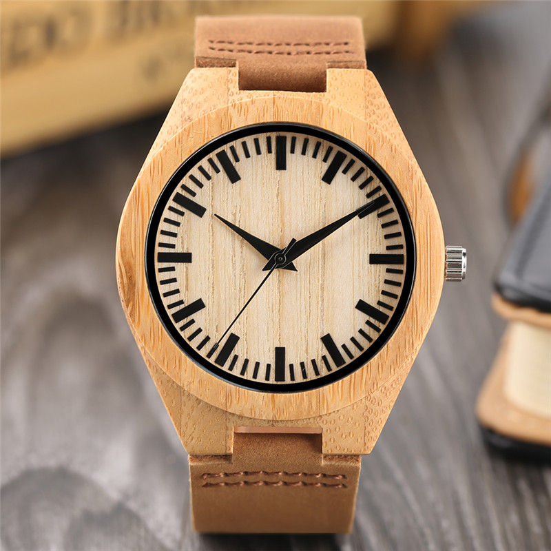 Cool Bamboo Wristwatch Trendy Minimalist Men Women Sport Wooden Watch Casual Concise Male Female Wood Clock Unique Business Gift retro simple nature wood bamboo creative wrist watch genuine leather band minimalist sport cool casual men army clock gift 2017