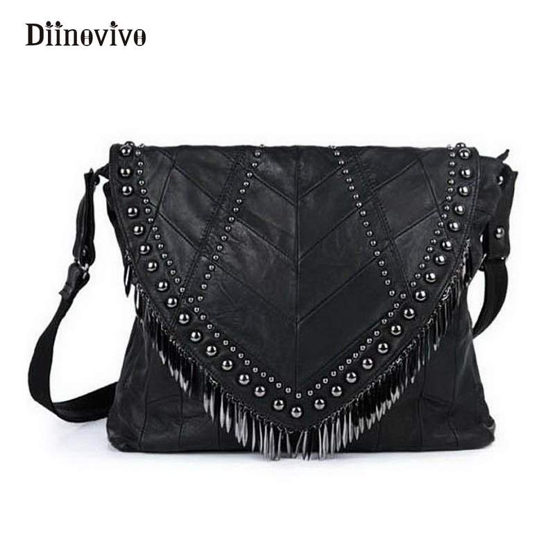 DIINOVIVO Genuine Leather Women Handbags Designer Tassel Female Shoulder Bags Rock Style Rivet Crossbody Bag Punk Totes WHDV0266 all match genuine leather women handbags designer tassel female shoulder bags rivet bag woman crossbody bag studs ladies