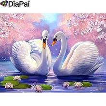 DIAPAI Diamond Painting 5D DIY 100% Full Square/Round Drill White goose flower Embroidery Cross Stitch 3D Decor A24661