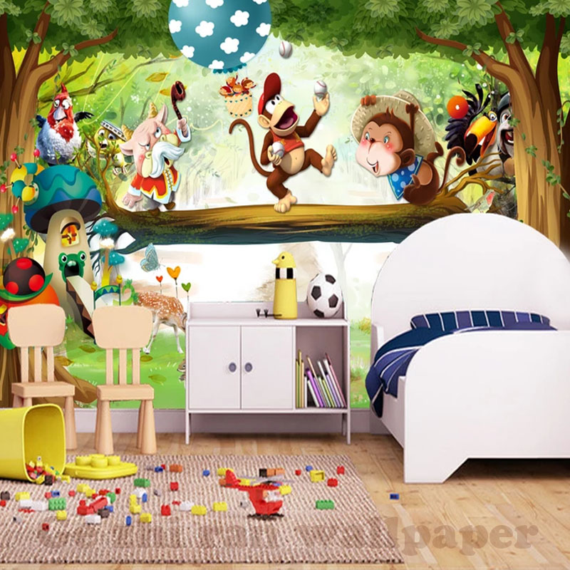 custom 3d mural wallpaper children room wall covering wallpapercustom 3d mural wallpaper children room wall covering wallpaper woodland animated cartoons 3d kid photo wallpaper home decor