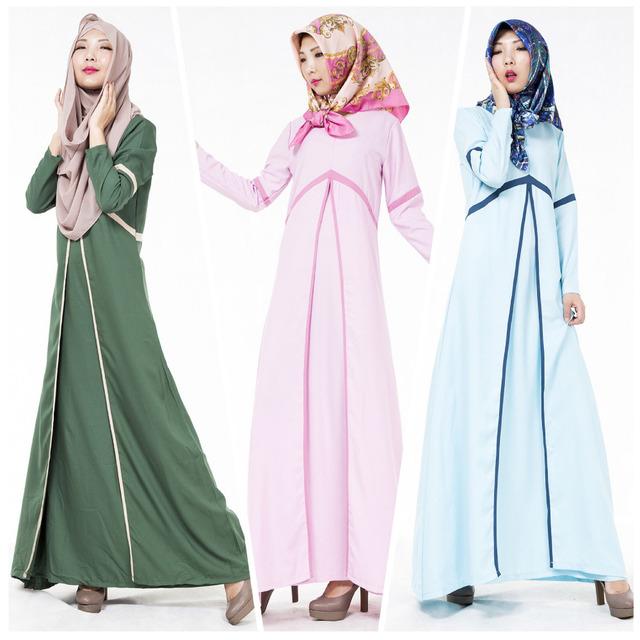 Las mujeres abaya musulmán ropa islámica para mujeres modest color contrato turco ropa dubai kaftan abaya WL2433