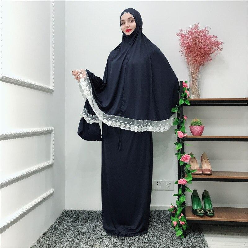 Musulman noir visage couverture Ramadan militaire Bonnet islamique Khimar longue boucle écharpe Jilbab prière vêtements foulard Abaya Ramadan - 2