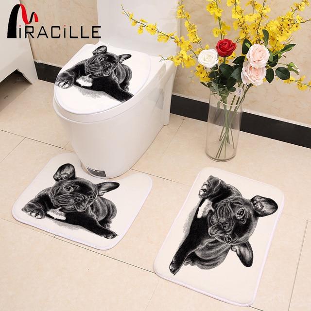Miracille Nero Sveglio Bulldog Francese Stampa 3 pz/set Toilet Seat Cover Bagno