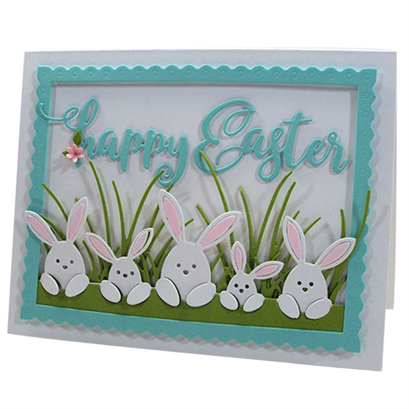 Easter Rabbit Family Metal Cutting Dies Stencil for DIY Scrapbooking Photo Album Embossing Paper Cards Crafts Die cuts(China)