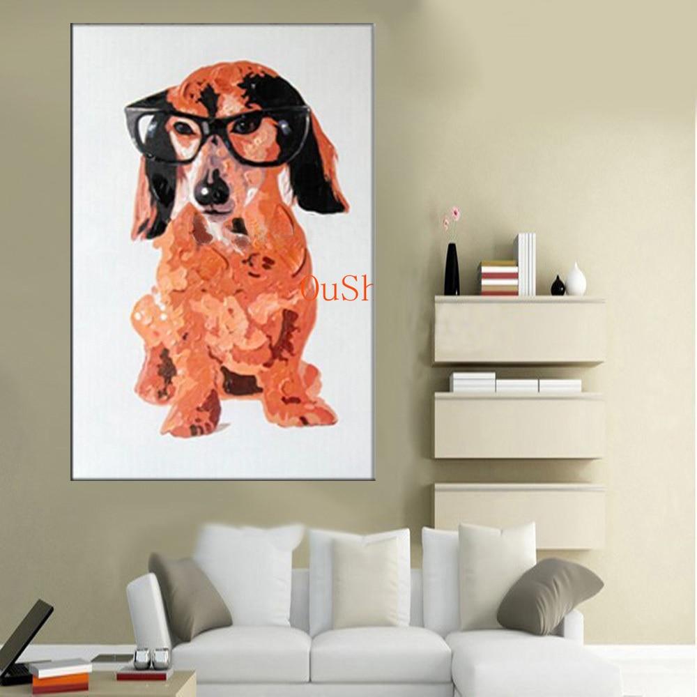 Pup Bild Handgemalte Moderne Tiere Gläser Hund Landschaft Wand ...
