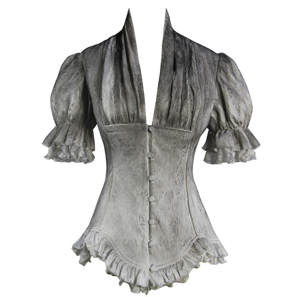 EvaLady Steampunk Gothic Blouse Puff Sleeve Vintage Fancy Ruffles Tops Double Hem Retro Shirt Waist Palace Shirt
